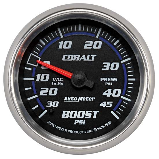 Auto Meter 7908 Cobalt Mechanical Boost/Vacuum Gauge, 2-5/8 Inch