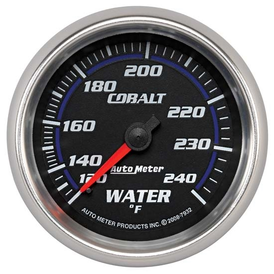 Auto Meter 7932 Cobalt Mechanical Water Temperature Gauge, 2-5/8 Inch