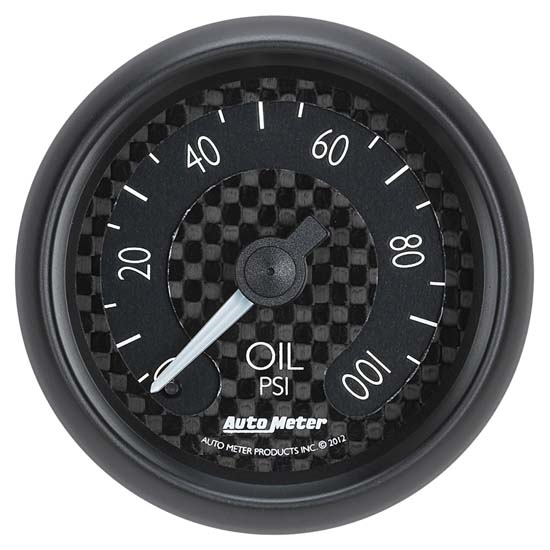 Auto Meter 8021 GT Mechanical Oil Pressure Gauge, 2-1/16 Inch, 100 PSI