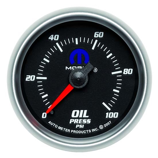 Auto Meter 880014 Mopar Mechanical Oil Pressure Gauge, 2-1/16 Inch