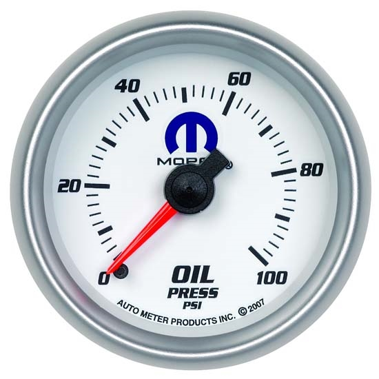 Auto Meter 880028 Mopar Mechanical Oil Pressure Gauge, 2-1/16 Inch