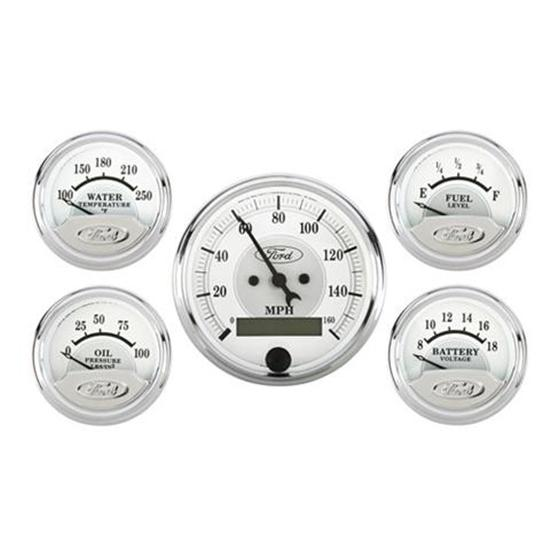Auto Meter 880087 Masterpiece Silver Ford Five Gauge Set