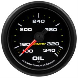 Auto Meter 9240 Extreme Oil Temp Gauge, 2-1/16, 100-340 Deg., Flat Lens