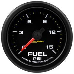 Auto Meter 9261 Extreme Fuel Pressure Gauge, 2-1/16, 0-15 PSI, Flat