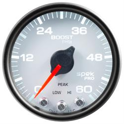 Auto Meter P30412 Spek-Pro Boost Gauge, 2-1/16, 0-60 PSI, Domed Lens