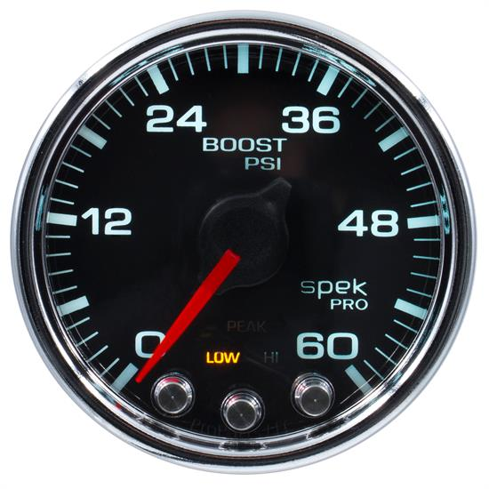 Auto Meter P30431 Spek-Pro Boost Gauge, 2-1/16, 0-60 PSI, Domed Lens