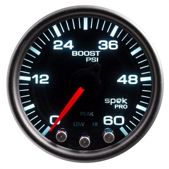 Auto Meter P30452 Spek-Pro Boost Gauge, 2-1/16, 0-60 PSI, Domed Lens