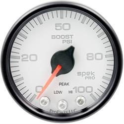 Auto Meter P30512 Spek-Pro Boost Gauge, 2-1/16, 0-100 PSI, Domed Lens