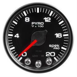 Auto Meter P31032 Spek-Pro Boost/Pyro Gauge, 2-1/16, 0-2000 Deg., Domed