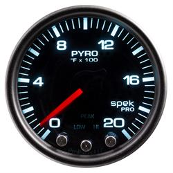 Auto Meter P31052 Spek-Pro Boost/Pyro Gauge, 2-1/16, 0-2000 Deg., Domed