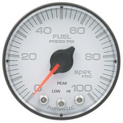 Auto Meter P314128 Spek-Pro Fuel Pressure Gauge, 2-1/16, 0-100 PSI, Flat