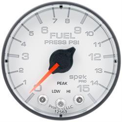Auto Meter P315128 Spek-Pro Fuel Pressure Gauge, 2-1/16, 0-15 PSI, Flat