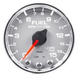 Auto Meter P31521 Spek-Pro Fuel Pressure Gauge, 2-1/16, 0-15 PSI, Domed