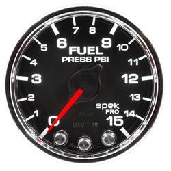 Auto Meter P31531 Spek-Pro Fuel Pressure Gauge, 2-1/16, 0-15 PSI, Domed
