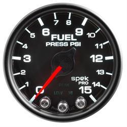 Auto Meter P31532 Spek-Pro Fuel Pressure Gauge, 2-1/16, 0-15 PSI, Domed
