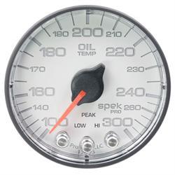 Auto Meter P322128 Spek-Pro Oil Temp Gauge, 2-1/16, 100-300 Deg., Flat