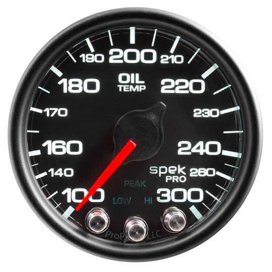Auto Meter P32232 Spek-Pro Oil Temp Gauge, 2-1/16, 100-300 Deg., Domed
