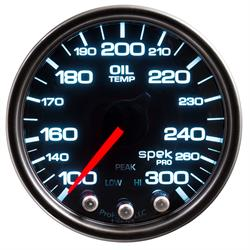 Auto Meter P32252 Spek-Pro Oil Temp Gauge, 2-1/16, 100-300 Deg., Domed