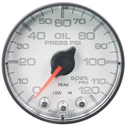 Auto Meter P325128 Spek-Pro Oil Pressure Gauge, 2-1/16, 0-120 PSI, Flat