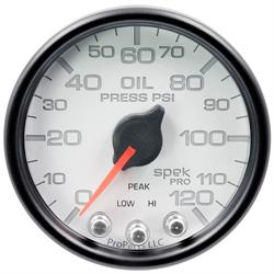 Auto Meter P32512 Spek-Pro Oil Pressure Gauge, 2-1/16, 0-120 PSI, Domed
