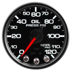 Auto Meter P32532 Spek-Pro Oil Pressure Gauge, 2-1/16, 0-120 PSI, Domed