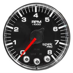 Auto Meter P334318 Spek-Pro Tachometer, 2-1/16, 0-8,000 RPM, Flat Lens