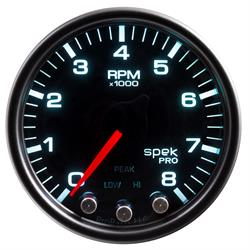 Auto Meter P33452 Spek-Pro Tachometer, 2-1/16, 0-8,000 RPM, Domed Lens