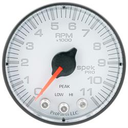 Auto Meter P336128 Spek-Pro Tachometer, 2-1/16, 0-11,000 RPM, Flat Lens