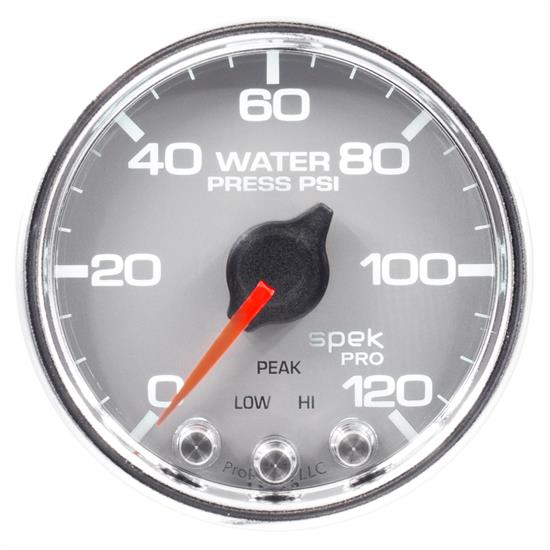 Auto Meter P34521 Spek-Pro Water Press. Gauge, 2-1/16, 0-120 PSI, Domed