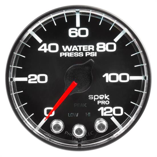 Auto Meter P345318 Spek-Pro Water Press. Gauge, 2-1/16, 0-120 PSI, Flat