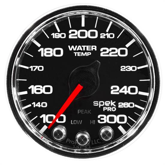 Auto Meter P34631 Spek-Pro Water Temp Gauge, 2-1/16, 100-300 Deg., Domed