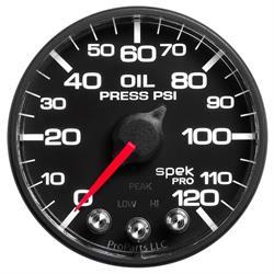 Auto Meter P525328 Spek-Pro Oil Pressure Gauge, 2-1/16, 0-120 PSI, Flat