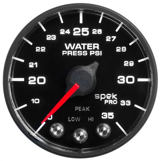 Auto Meter P543328-N1 Spek-Pro Water Press. Gauge, 2-1/16, 0-35 PSI,