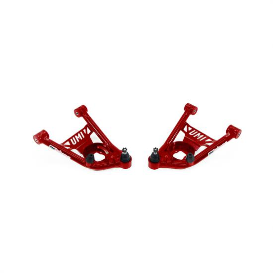 UMI 4031-R 64-72 A-Body Tubular Front Lower A-Arms, Poly, Red