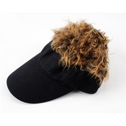 FlairHair Visor, Black w/ Brown Hair