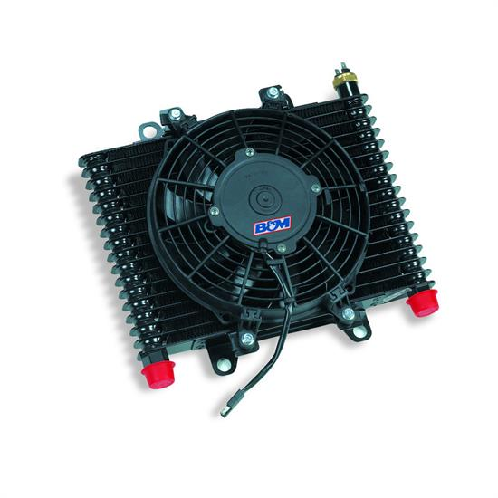 B&M 70297 Oil Cooler, Large Hi Tek Cooling System w/ Fan, 590 CFM