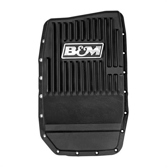 B&M 70394 Cast Alum Trans Pan for Ford 6R80, Black Anodized