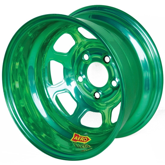 Aero 51-904740GRN 51 Series 15x10 Wheel, Spun, 5 on 4-3/4, 4 Inch BS