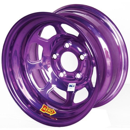 Aero 52-984510PUR 52 Series 15x8 Wheel, 5 on 4-1/2 BP, 1 Inch BS IMCA