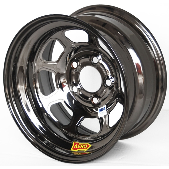Aero 52-984520BLK 52 Series 15x8 Wheel, 5 on 4-1/2 BP, 2 Inch BS IMCA