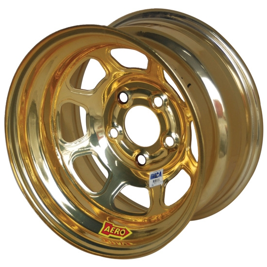 Aero 52-984540GOL 52 Series 15x8 Wheel, 5x4.5 BP, 4 Inch BS IMCA