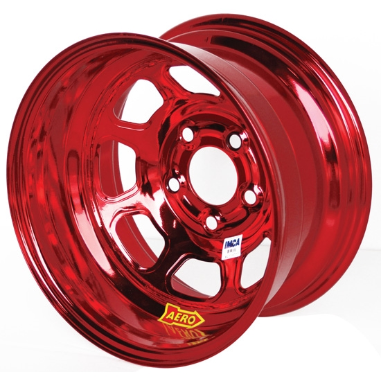 Aero 52-984540RED 52 Series 15x8 Wheel, 5 on 4-1/2 BP, 4 Inch BS IMCA