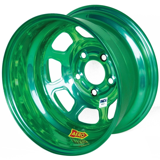 Aero 52-984740GRN 52 Series 15x8 Wheel, 5 on 4-3/4 BP, 4 Inch BS IMCA