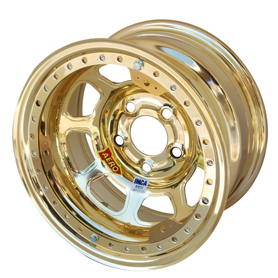 Aero 53-985030GOL 53 Series 15x8 Wheel, BL, 5 on 5 BP, 3 Inch BS IMCA