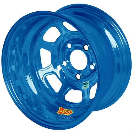 Aero 55-904530BLU 15 x 10 55 Series Wheel, 4 on 4.5, Blue Chrome