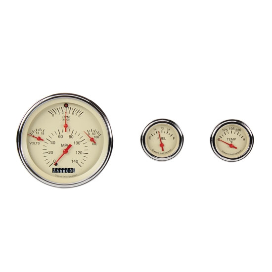 Classic Instruments CH01TSLF Gauge Set, Tan Face, 1957 Chevy