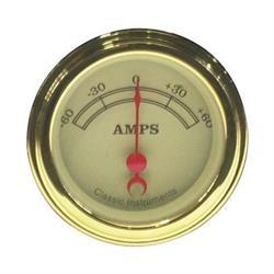 Classic Instruments VT66GLF Vintage Ammeter Gauge -2 1/8 In 60-60 Amp