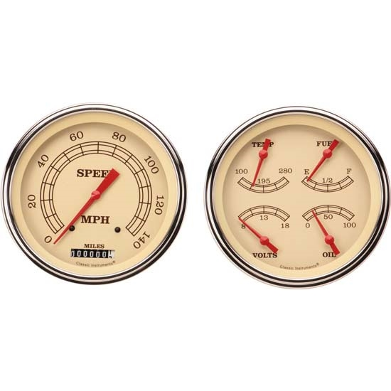 Classic Instruments CT47VT52 Pickup Gauge Sets, 47-53 GM, Beige