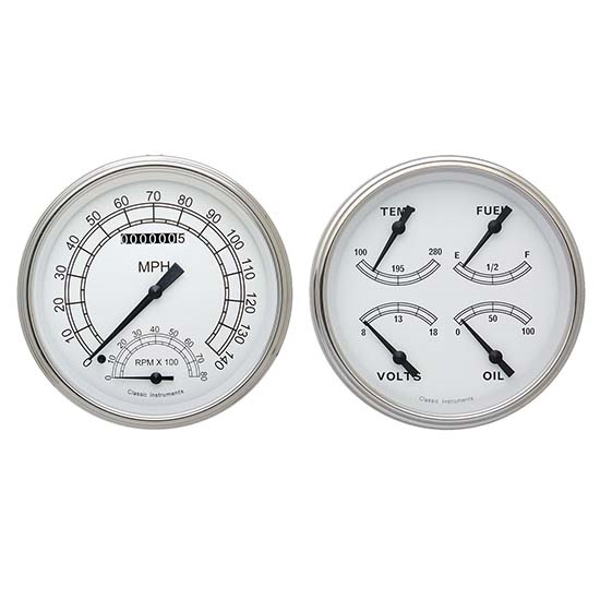Classic Instruments CT47CW62 Pickup Gauge Sets, 47-53 GM White