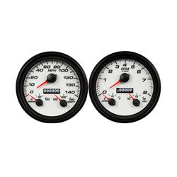 New Vintage USA 02257-03 Performance II Series Gauges, White